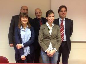 le assistenti sociali Paola Boido e Giovanna Bramante con il sindaco Brignolo, il direttore generale Asl Galante, l'assessore ai Servizi Sociali Vercelli