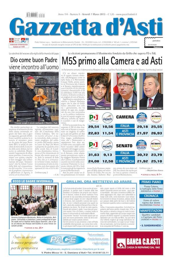 prima pagina 1176 marzo 2013 gazzetta dasti