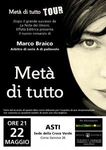 """""""Metà di tutto"""", Marco Braico presenta il nuovo romanzo alla Croce Verde di Asti"""