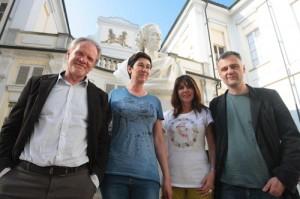 Asti   conferenza stampa presentazione progetto genius urbis con Lucio Pellegrini  Laura Calosso Roberta  Bellesini      e Marco Picatto