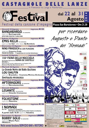 Calendario Concerti Nomadi.Il Calendario Del Festival Contro A Castagnole Lanze