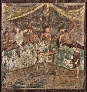 Affresco con scena di banchetto da Pompei, conservato al Museo Archeologico di Napoli (I sec. a.C.)