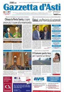 On line la prima pagina della Gazzetta d'Asti in edicola da venerdì 18 novembre 2016.