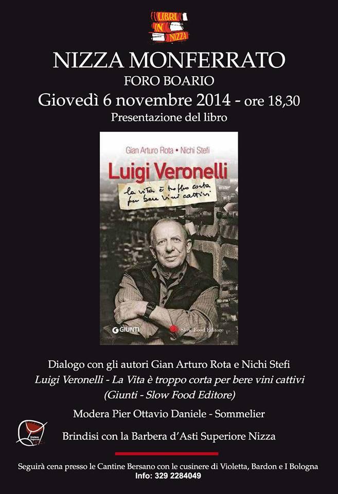 A Nizza Monferrato si presenta il libro Luigi Veronelli – La vita è troppo corta per bere vini cattivi