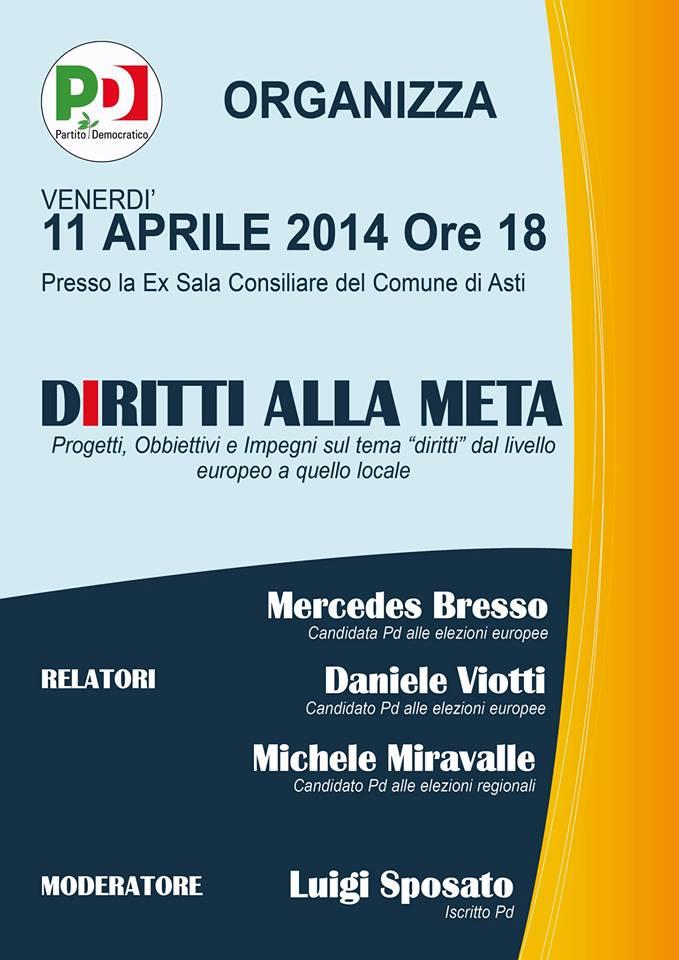 """""""Diritti alla meta"""" oggi ad Asti con Mercedes Bresso, Daniele Viotti e Michele Miravalle"""