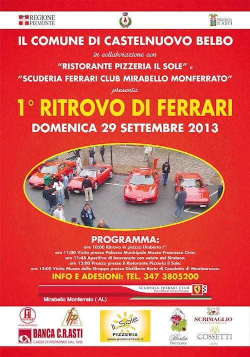 A Castelnuovo Belbo primo ritrovo delle Ferrari