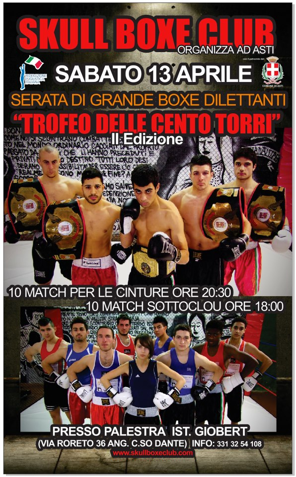 """Boxe, ad Asti """"Trofeo delle Cento Torri"""""""