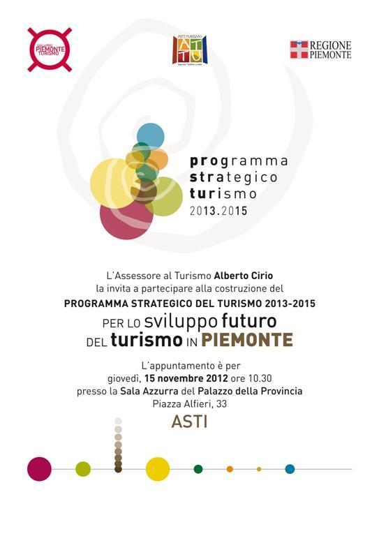 Programma strategico turismo in Piemonte: se ne parla oggi ad Asti con l'assessore Alberto Cirio
