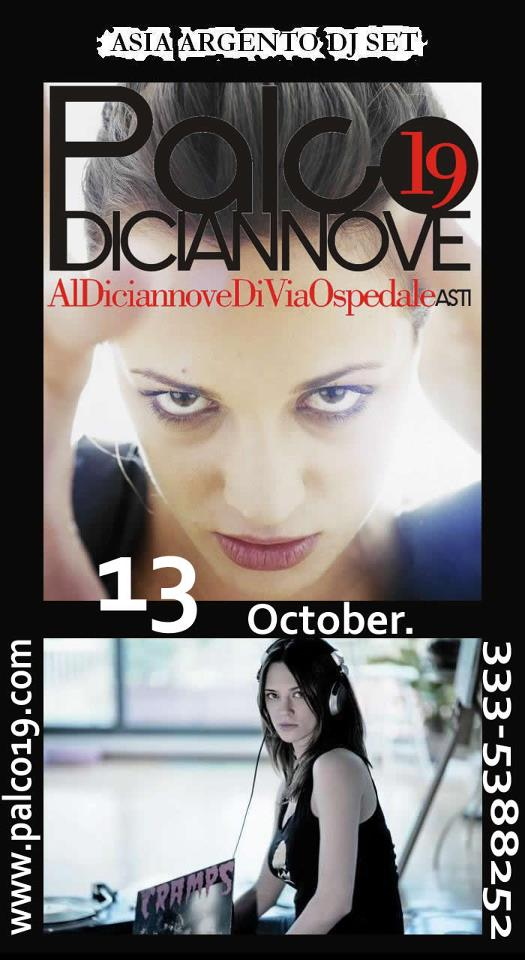 Save the date: 13 ottobre, dj set di Asia Argento al Palco19 di Asti