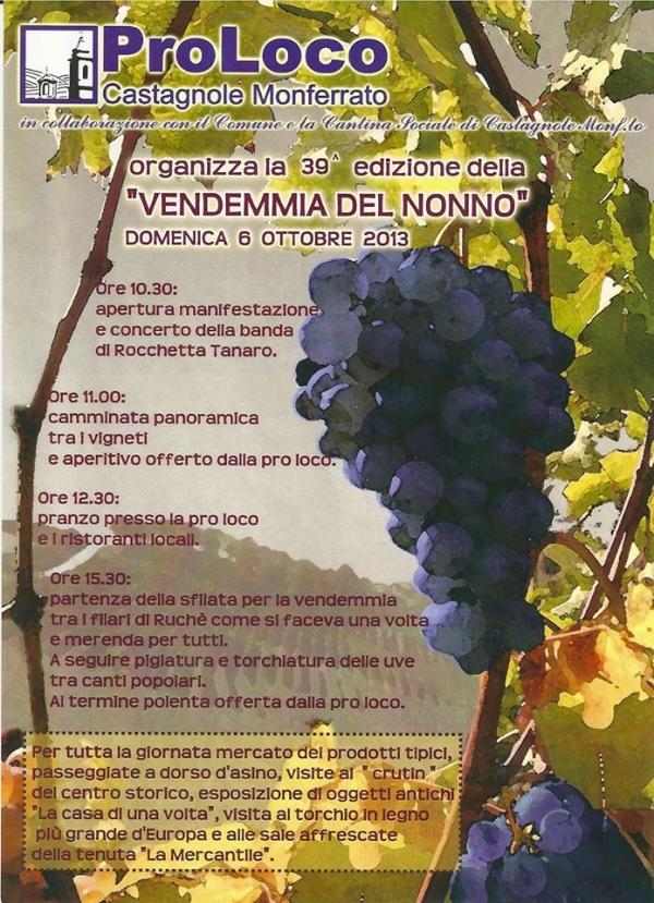 A Castagnole Monferrato la 39 edizione della Vendemmia del Nonno
