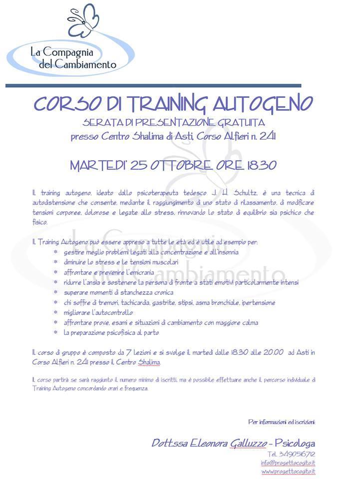 Ad Asti si presenta il corso di Training Autogeno