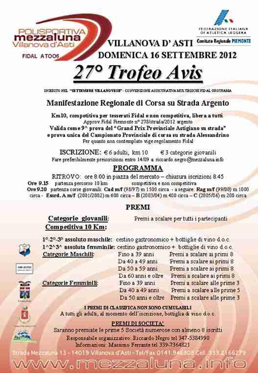 Podismo: domani, a Villanova d'Asti, il 27° Trofeo Avis