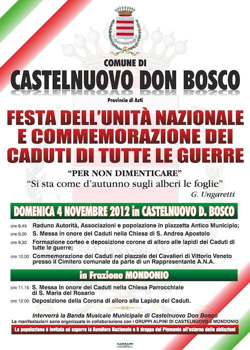 Celebrazioni per il 4 novembre a Castelnuovo Don Bosco