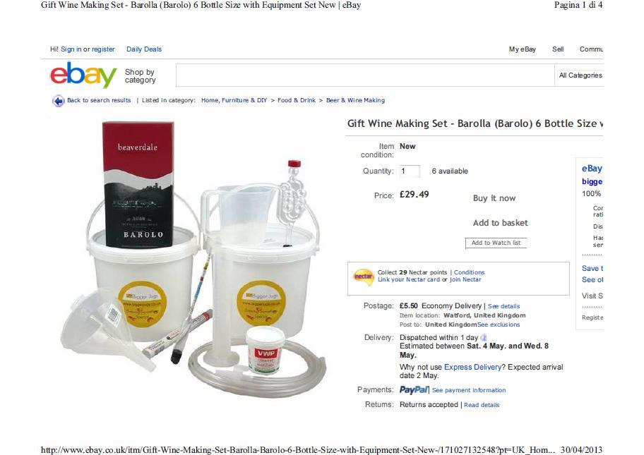 E' lotta ai wine-kit per produrre finto Barolo venduti su eBay