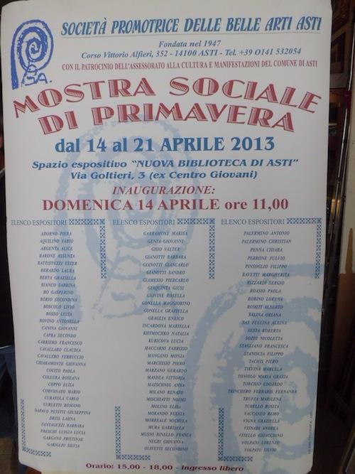 Alla nuova Biblioteca Astense la Mostra Sociale di Primavera