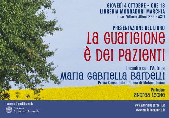 """""""La guarigione è dei pazienti"""" domani alla Libreria Marchia di Asti"""