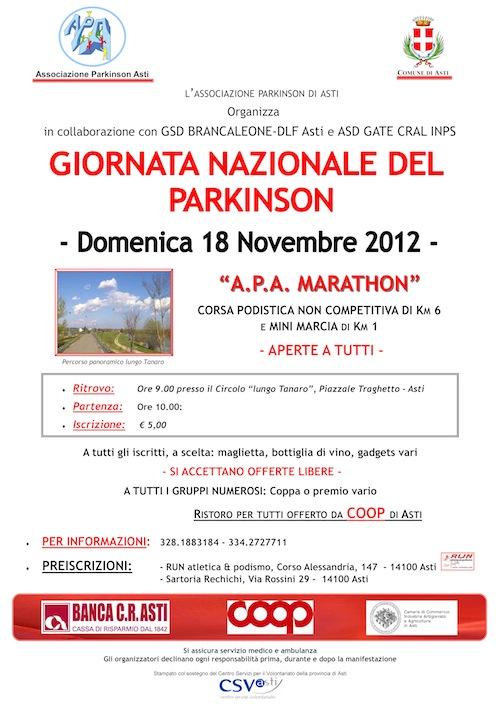 Una corsa per sostenere l'Associazione Parkinson Asti
