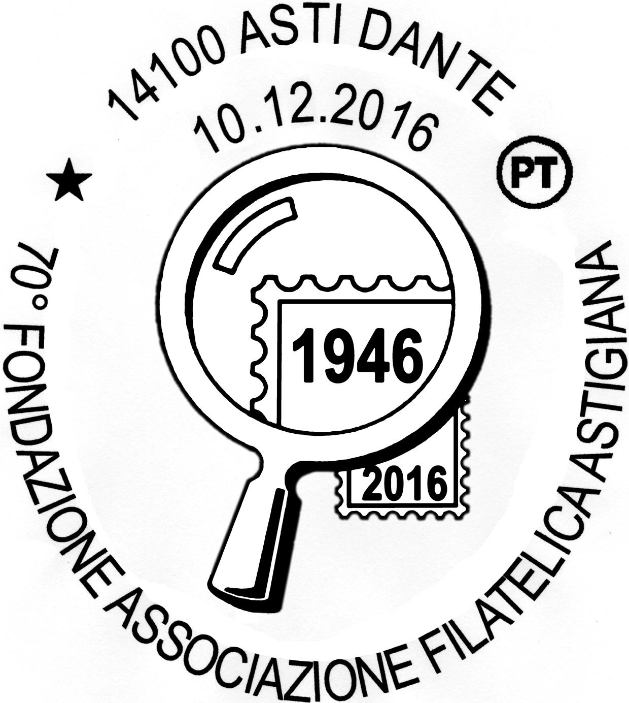 """Mostra e annullo speciale per i 70 anni dell'Associazione Filatelica Astigiana """"Gigi e Mario Conte"""""""