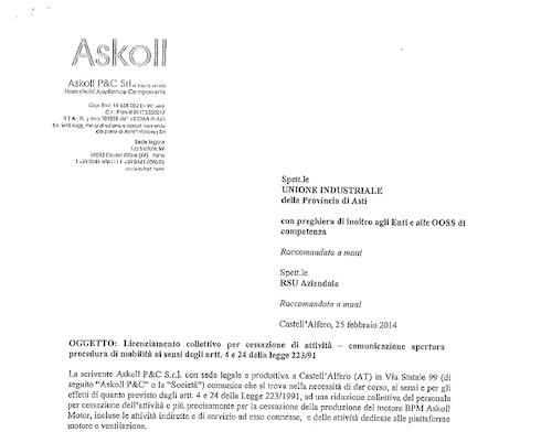 """Lavagno: """"Askoll (ex Ceset) di Castell'Alfero, drammatica situazione occupazionale"""""""