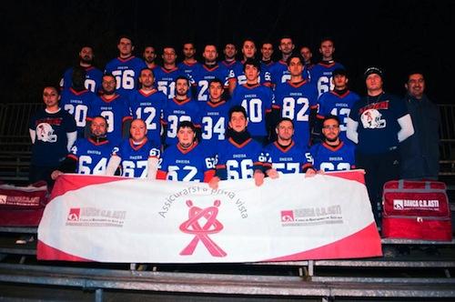 Gli altelti dell'Alfieri Football Team al raduno della nazionale Azzurri d'Italia