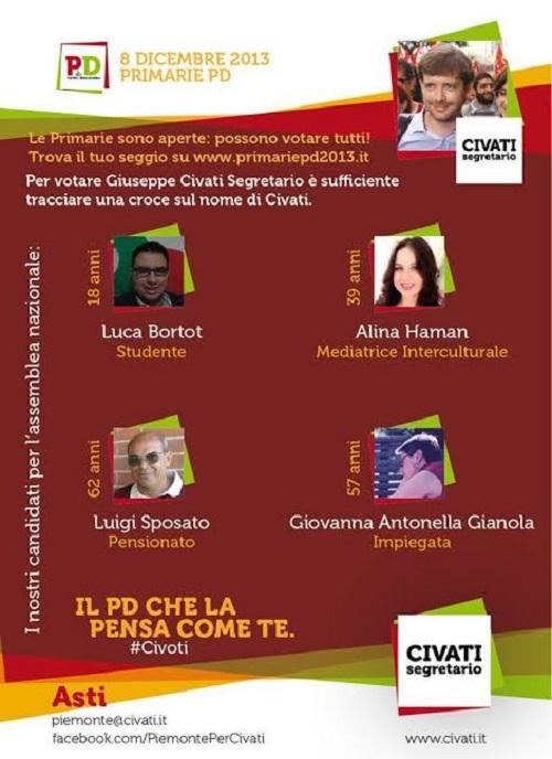 Primarie del Pd. I candidati astigiani di Pippo Civati
