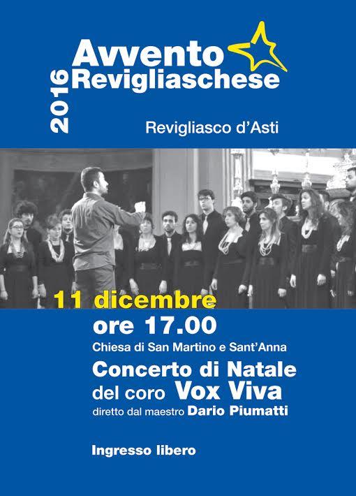 Nuovo appuntamento con l'Avvento Revigliaschese: concerto di Natale del Coro Vox Viva di Torino