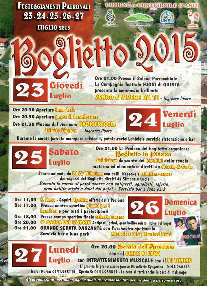 Da stasera al via la festa patronale a Boglietto