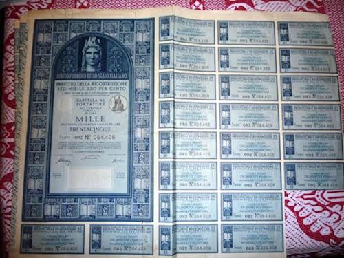 Un bot da mille lire del 1947 ora vale 27.543 euro