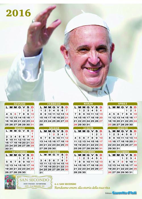 In regalo con la Gazzetta d'Asti il calendario di papa Francesco