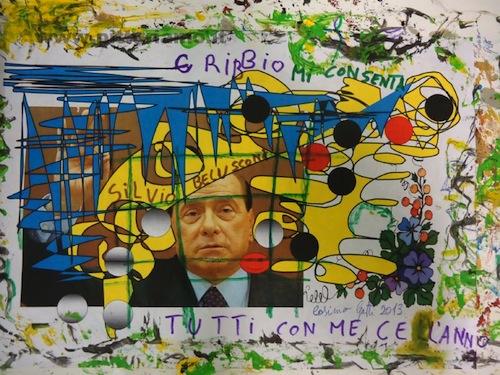 Cosimo Gatti dedica un quadro a Silvio Berlusconi