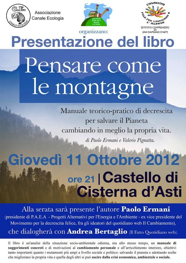 """A Cisterna d'Asti presentazione del volume """"Pensare come le montagne"""""""