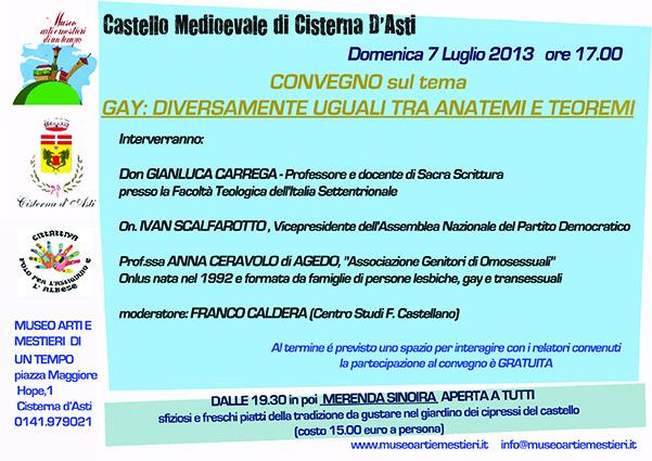Al Castello di Cisterna d'Asti incontro sull'omosessualità