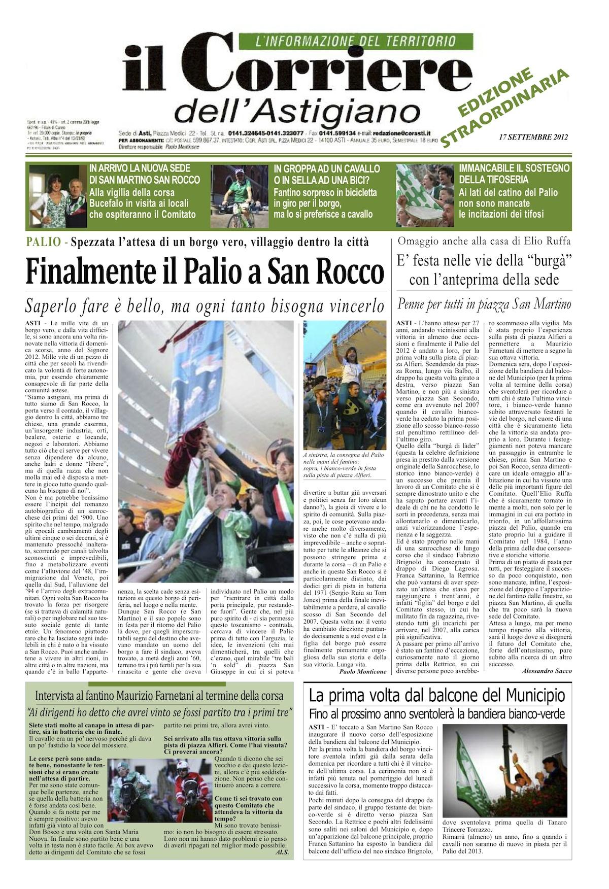Un'edizione straordinaria della prima pagina del Corriere dell'Astigiano per festeggiare San Martino San Rocco