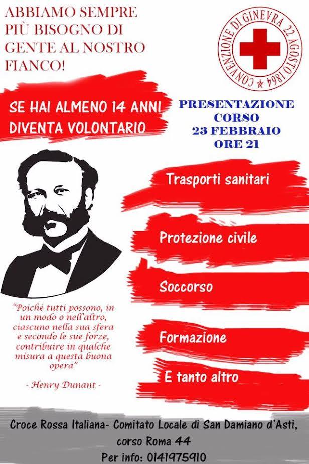 AAA cercasi nuovi volontari per la sede della Croce Rossa di San Damiano d'Asti