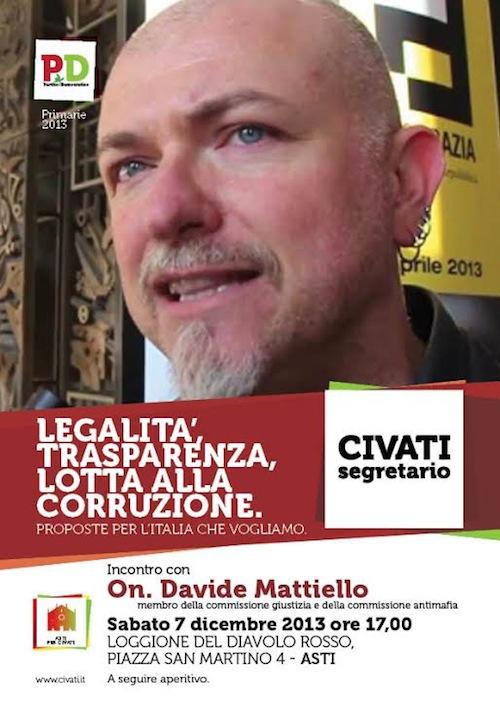 Primarie Pd. Davide Mattiello ad Asti per presentare la Mozione Civati
