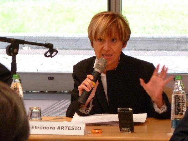 Eleonora Artesio al presidio del lavoratori Askoll