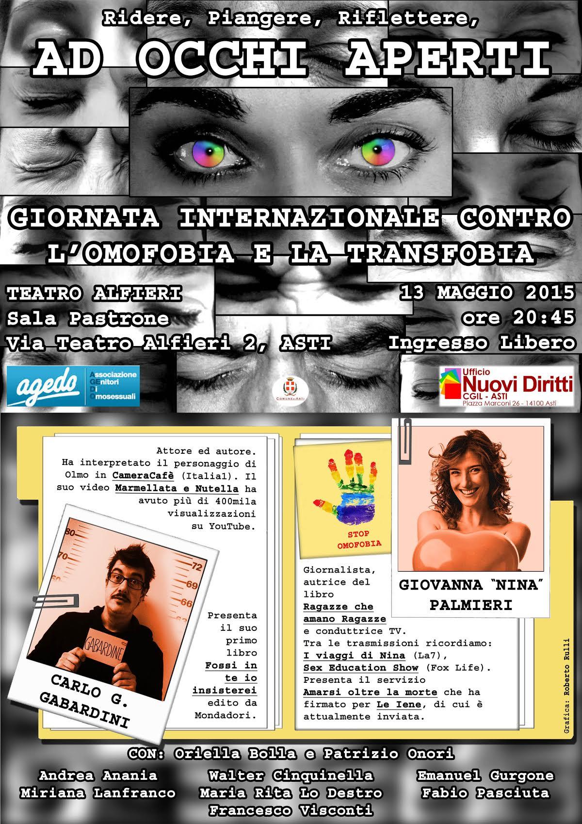 """""""A occhi aperti"""" uno spettacolo ad Asti contro omofobia e transfobia"""