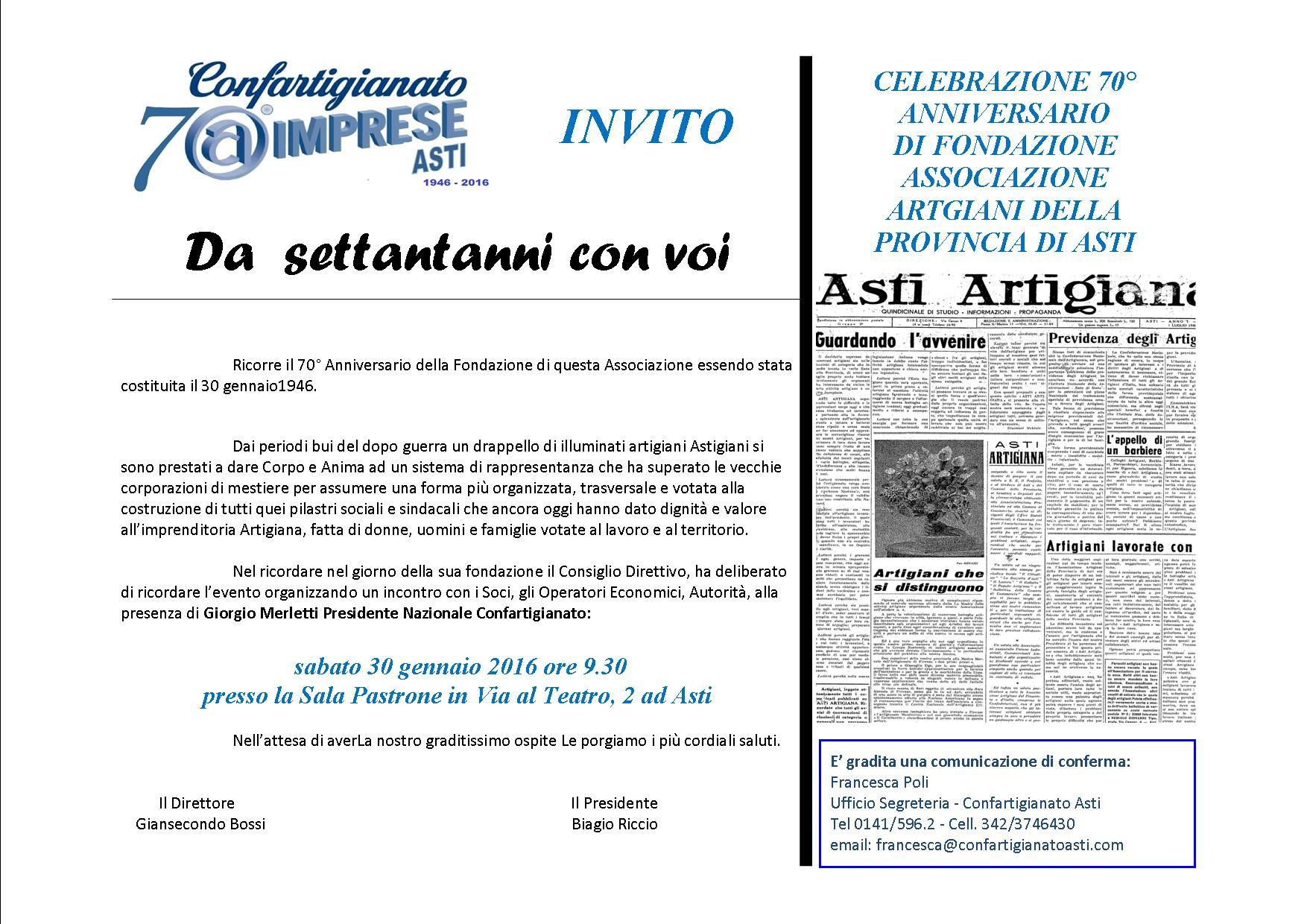 I settant'anni di Confartigianato Asti