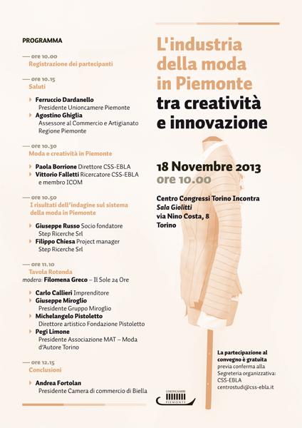 """""""L'industria della moda in Piemonte tra creatività e innovazione""""  a Torino"""