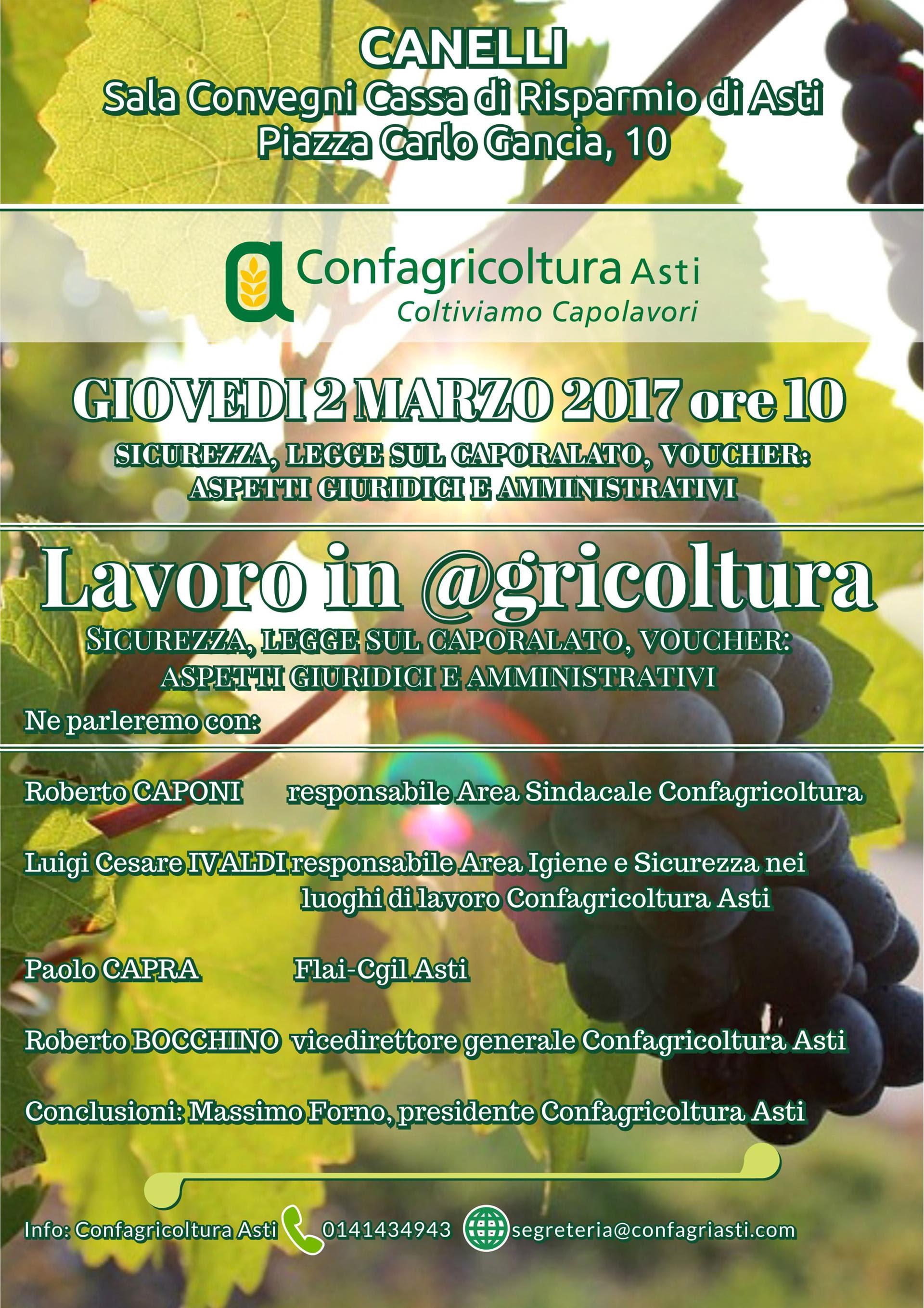 """""""Lavoro in agricoltura"""": un convegno di Confagricoltura Asti a Canelli"""