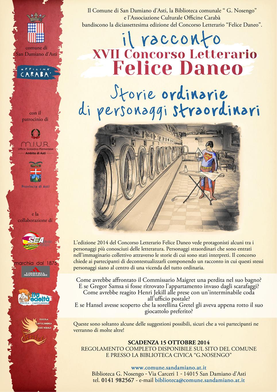 Concorso letterario Felice Daneo, aperte le iscrizioni