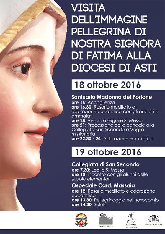 L'effigie della Madonna di Nostra Signora di Fatima in pellegrinaggio ad Asti