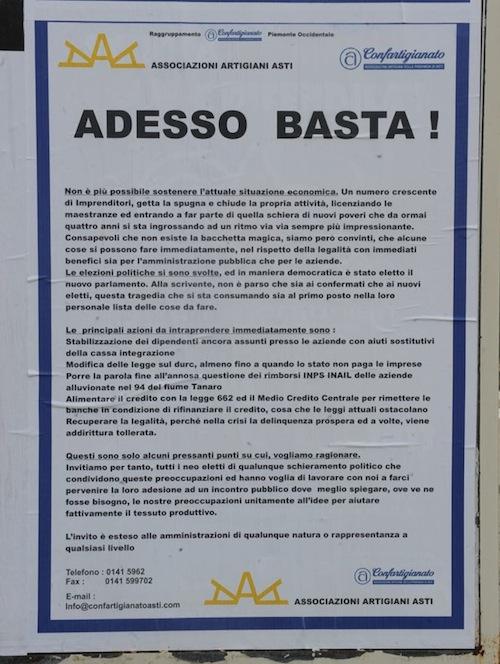 """""""Adesso basta!"""": Confartigianato Asti lancia un appello"""