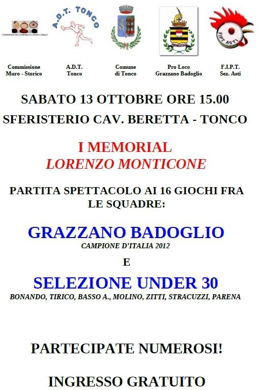 Sabato il Memorial Lorenzo Monticone a Tonco