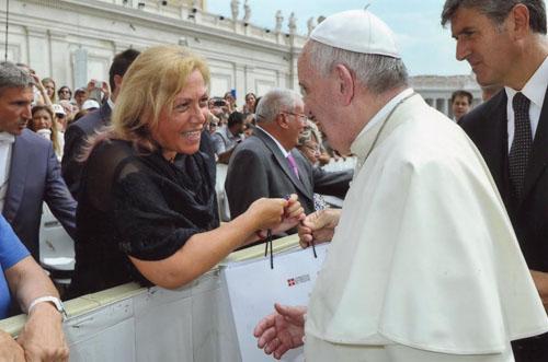Angela Motta da Papa Francesco contro lo spreco alimentare