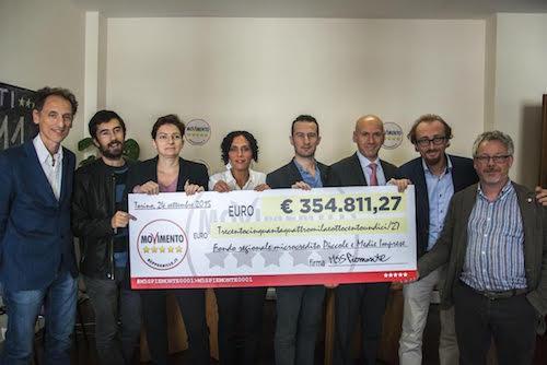 I consiglieri regionali M5S restituiscono alle Pmi piemontesi 354.811 euro
