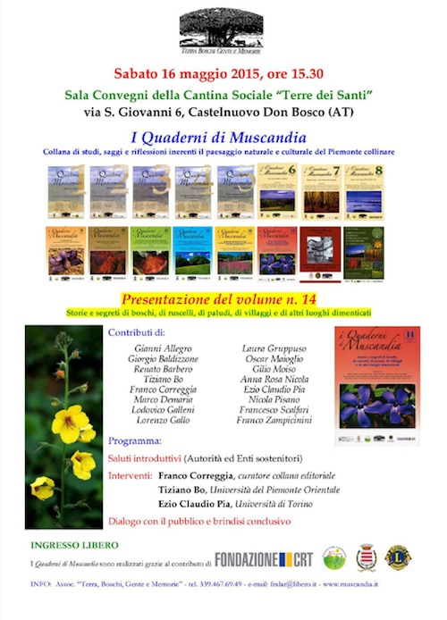 A Castelnuovo Don Bosco si presenta il volume 14 dei Quaderni di Muscandia