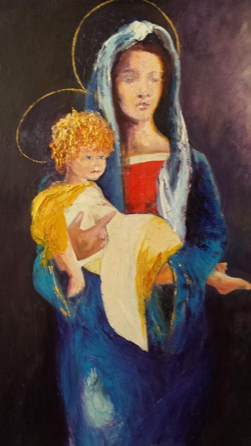 Il maestro Rabino consegna alla parrocchia di Montaldo l'opera Nostra Signora della Buona Speranza