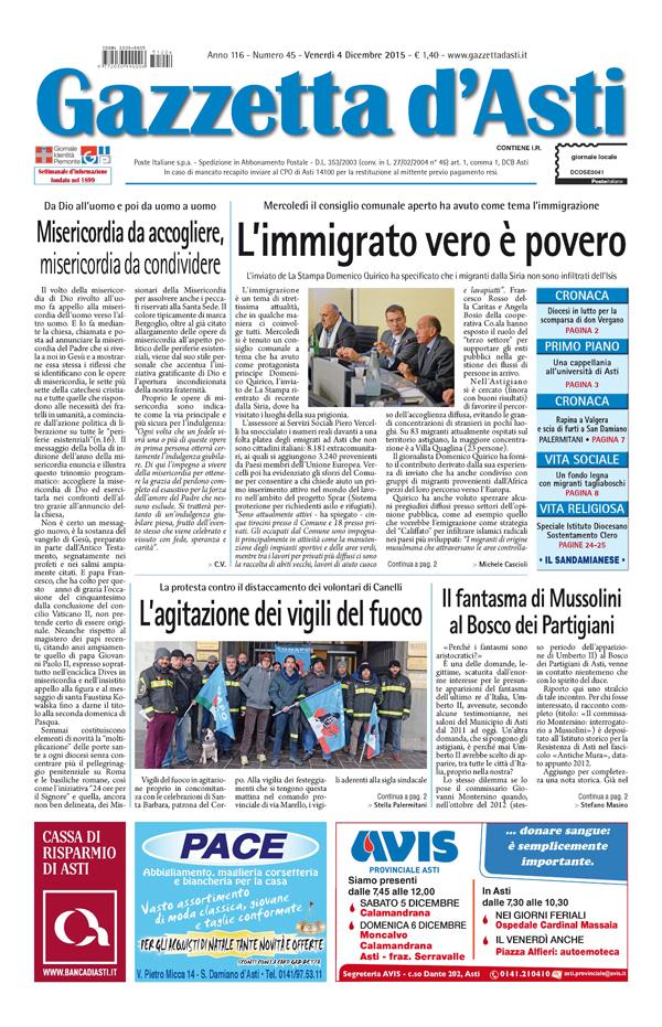 Prima pagina – 4 dicembre 2015
