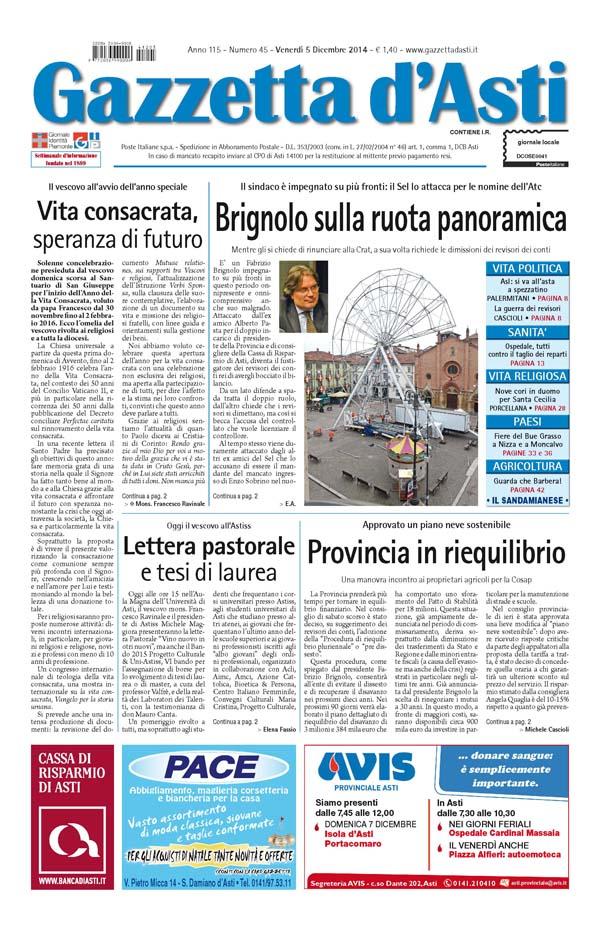 Prima pagina – 5 dicembre 2014